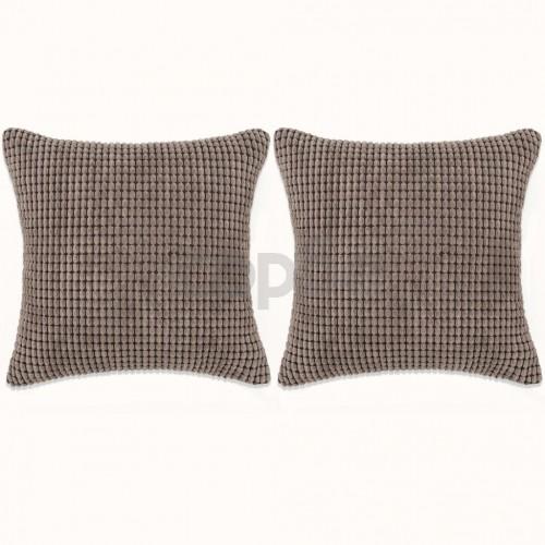 Комплект възглавници, 2 бр, велур, 60x60 см, кафяв