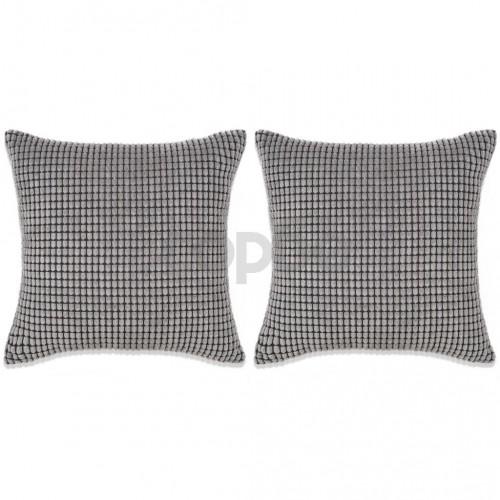 Комплект възглавници, 2 бр, велур, 60x60 см, сив