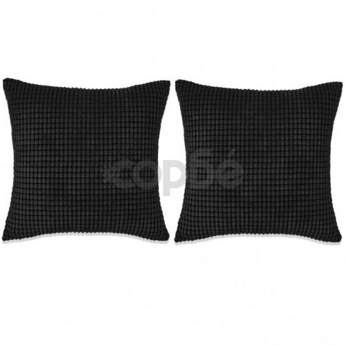 Комплект възглавници, 2 бр, велур, 45x45 см, черен