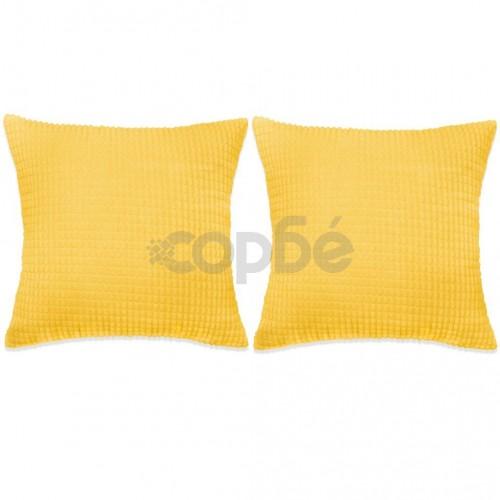 Комплект възглавници, 2 бр, велур, 45x45 см, жълт