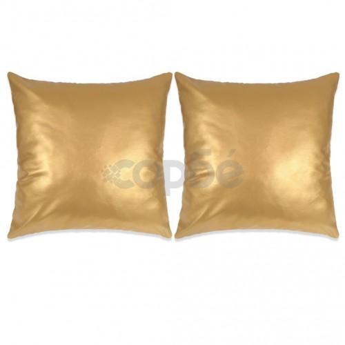 Комплект възглавници, 2 бр, PU, 60x60 см, златисти