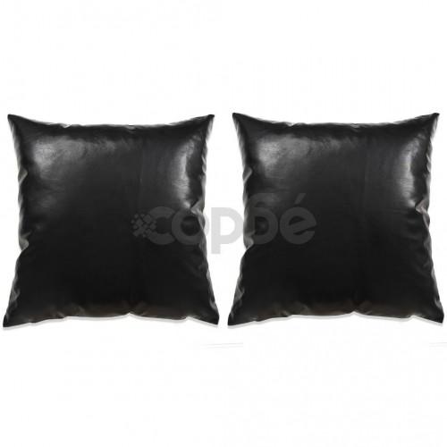 Комплект възглавници, 2 бр, PU, 60x60 см, черен