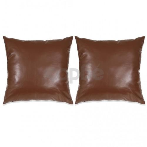 Комплект възглавници, 2 бр, PU, 45x45 см, кафяв