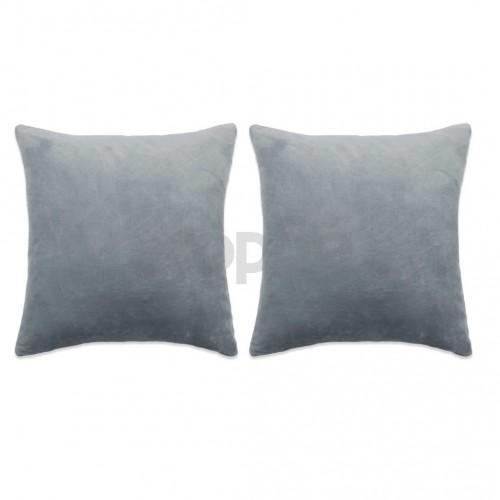 Комплект възглавници, 2 бр, велур, 60x60 см, сиви