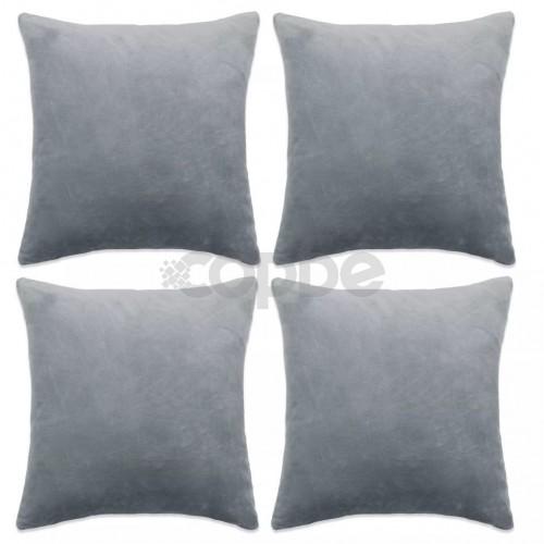 Калъфки за възглавници, 4 бр, велур, 50x50 см, сиви