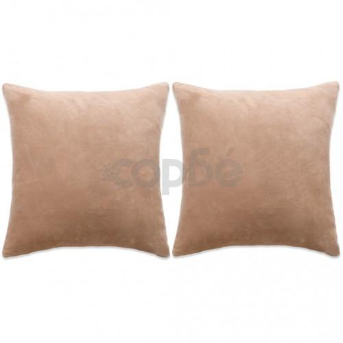 Комплект възглавници, 2 бр, велур, 45x45 см, бежови