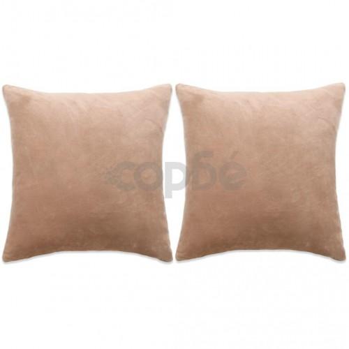 Комплект възглавници, 2 бр, велур, 60x60 см, бежови