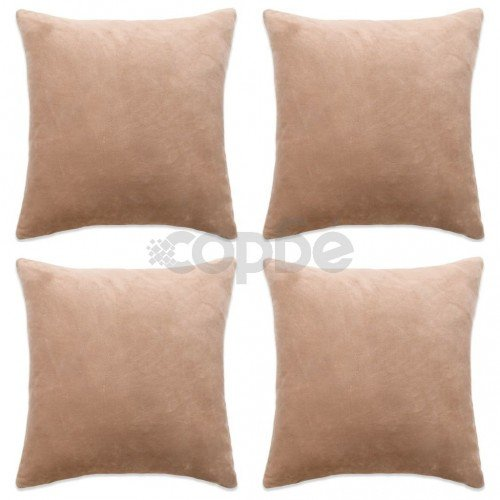 Калъфки за възглавници, 4 бр, велур, 80x80 см, бежови