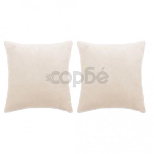 Комплект възглавници, 2 бр, велур, 60x60 см, белезникави