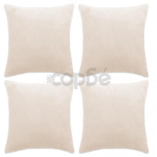 Калъфки за възглавници, 4 бр, велур, 40x40 см, белезникави