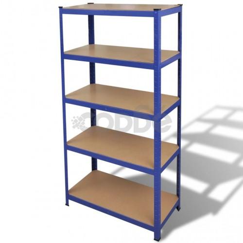 Стойка с рафтове за съхранение и организация на вещи, цвят син