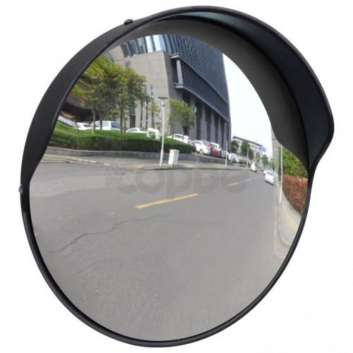 Изпъкнало пътно огледало, PC пластмаса, черно, 30 см, улично