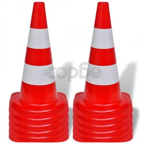 Червено-бели светлоотразителни конуси за улично движение, 50 см