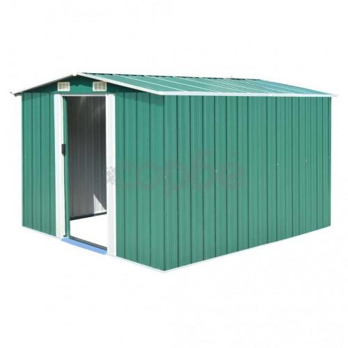 Градинска барака, 257x298x178 см, метал, зелена