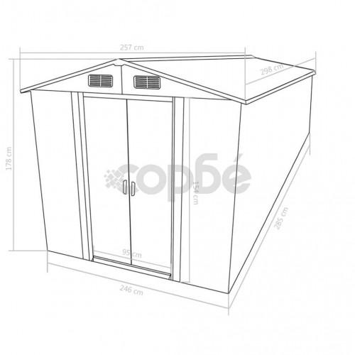 Градинска барака, 257x298x178 см, метал, антрацит