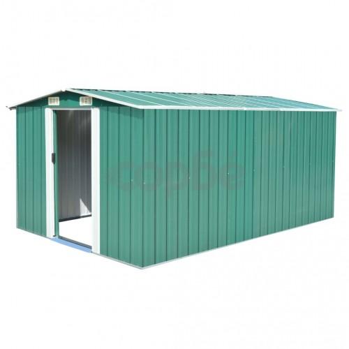 Градинска барака, 257x398x178 см, метал, зелена