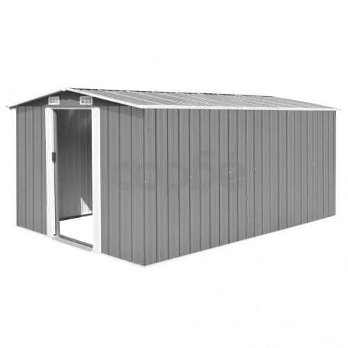 Градинска барака, 257x392x181 см, метал, зелена
