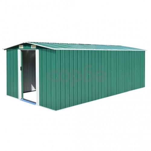 Градинска барака, 257x497x178 см, метал, зелена