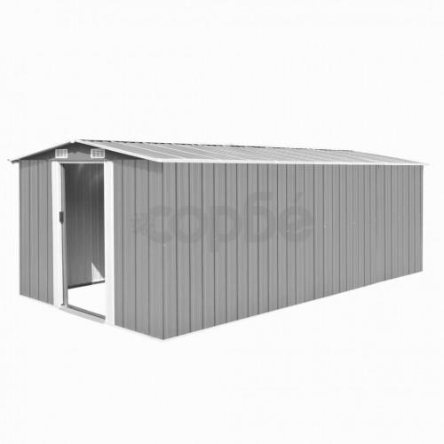 Градинска барака, 257x489x181 см, метал, сива