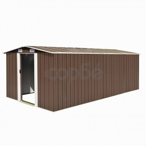 Градинска барака, 257x497x178 см, метал, кафява