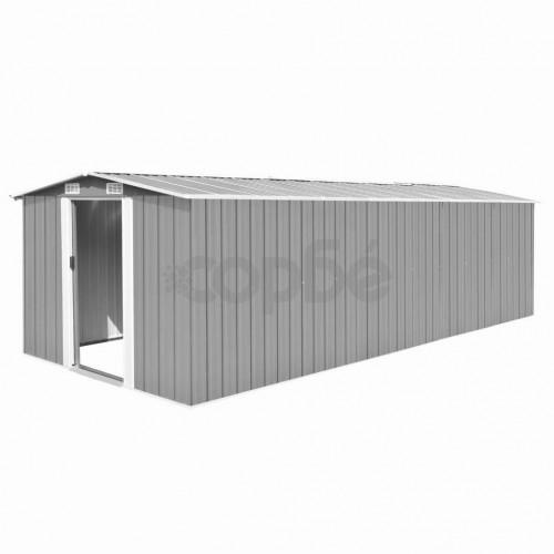 Градинска барака, 257x597x178 см, метал, сива