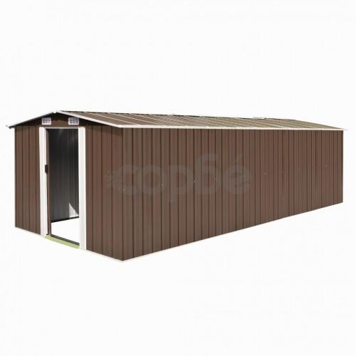 Градинска барака, 257x580x181 см, метал, кафява