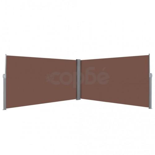 Прибираща се странична тента, 160х600 см, кафява