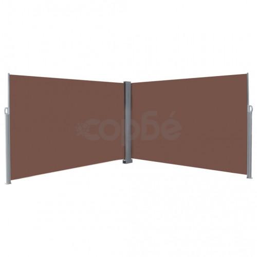 Прибираща се странична тента, 200х600 см, кафява