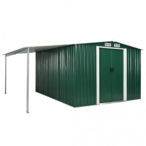 Градинска барака с плъзгащи врати зелена 386x312x178 см стомана