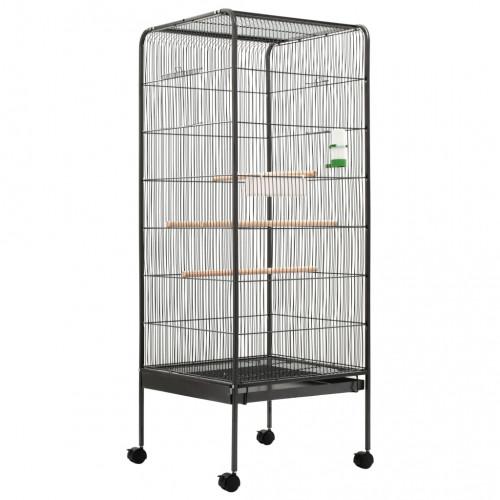 Клетка за птици, сива, 54x54x146 см, стомана