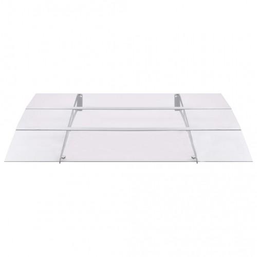 Навес за врата, сребристо и прозрачно, 150x90 см, поликарбонат