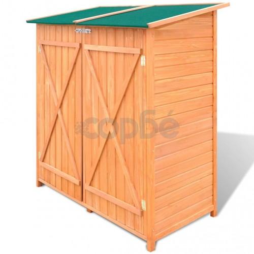 Дървена градинска барака за инструменти с навес