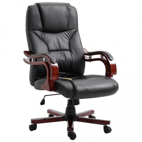 Офис стол, черен, изкуствена кожа