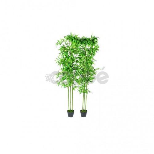 Бамбукови растения с изкуствени листа за декорация, 2 бр от 190 см