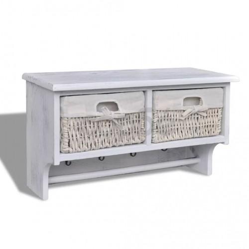 Бял дървен стенен рафт-закачалка с 2 тъкани кошници и 4 куки