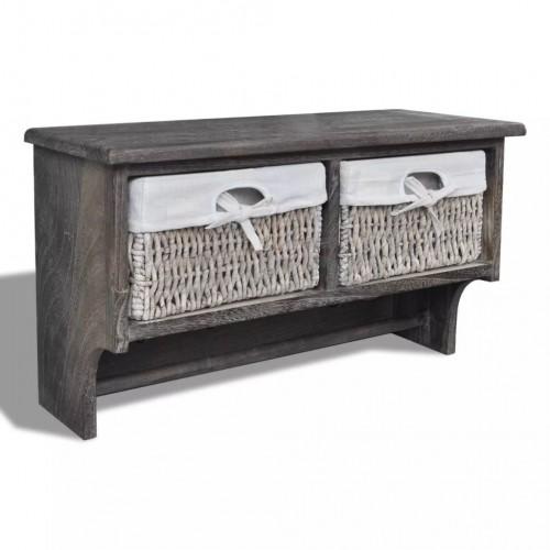 Кафяв дървен стенен рафт-закачалка с 2 тъкани кошници и 4 куки