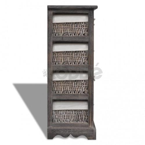 Кафяв дървен стелаж с 4 плетени кошници за съхранение