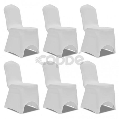 Еластични калъфи за столове, бели – 6 броя