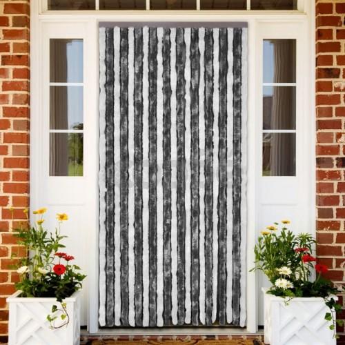 Ресни за врата против насекоми, сиво и бяло, 100 х 220 см.