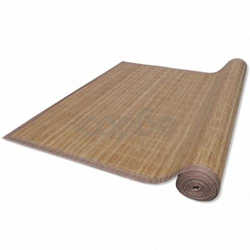 Правоъгълен кафяв бамбуков килим 120 х 180 см