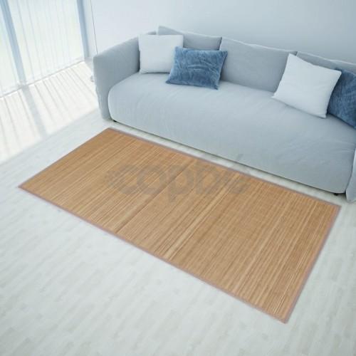 Правоъгълен кафяв бамбуков килим 150 х 200 см