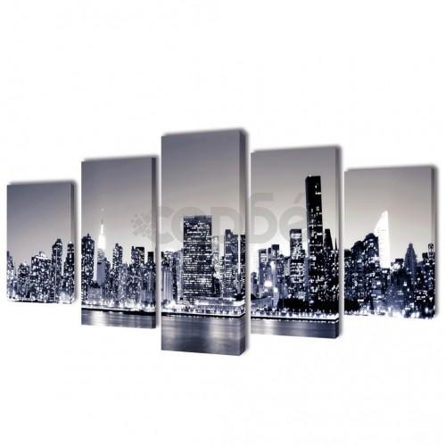 Декоративни панели за стена Ню Йорк в черно-бяло, 200 x 100 см