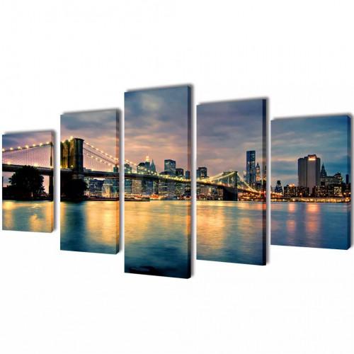 Декоративни панели стена Бруклински мост-гледка от реката, 200x100см