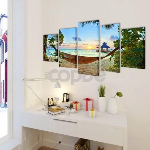 Декоративни панели за стена Плаж с хамак, 200 x 100 см