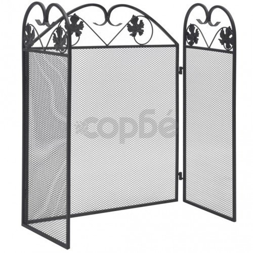 3-панелен параван за камина, желязо, черен