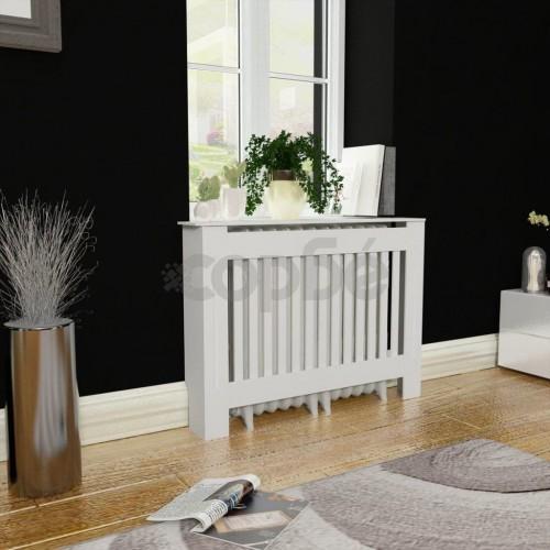 Бяла MDF декоративна решетка за отопляващ радиатор, 112 см