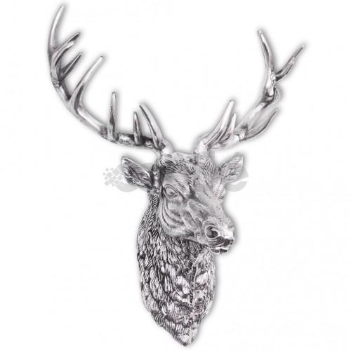 Декоративна глава на елен, монтаж на стена, алуминий, сребрист