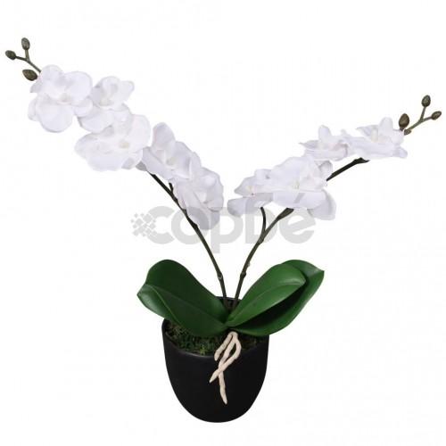 Изкуствено растение орхидея със саксия, 30 см, бяло