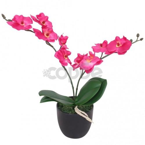Изкуствено растение орхидея със саксия, 30 см, червена