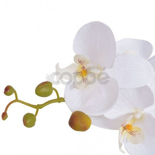 Изкуствено растение орхидея със саксия, 65 см, бяло